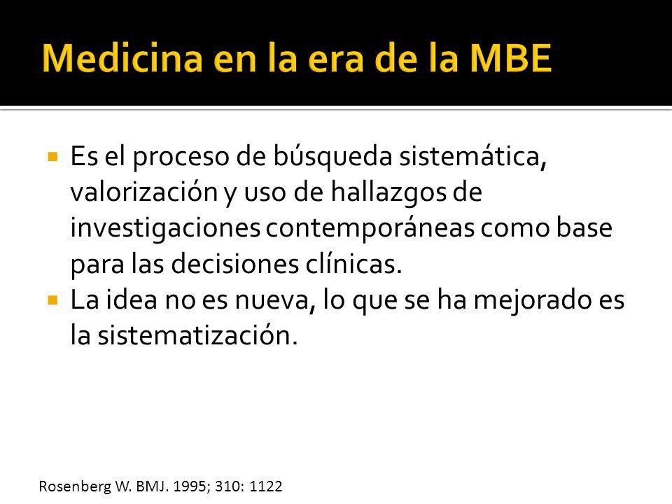 Es el proceso de búsqueda sistemática, valorización y uso de hallazgos de investigaciones contemporáneas como base para las decisiones clínicas. La id