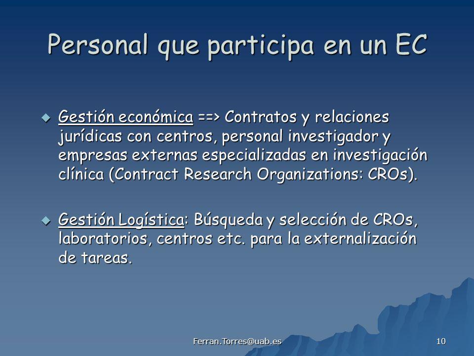 Ferran.Torres@uab.es 10 Personal que participa en un EC Gestión económica ==> Contratos y relaciones jurídicas con centros, personal investigador y em