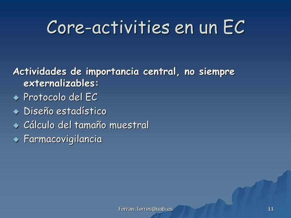 Ferran.Torres@uab.es 11 Core-activities en un EC Actividades de importancia central, no siempre externalizables: Protocolo del EC Protocolo del EC Dis