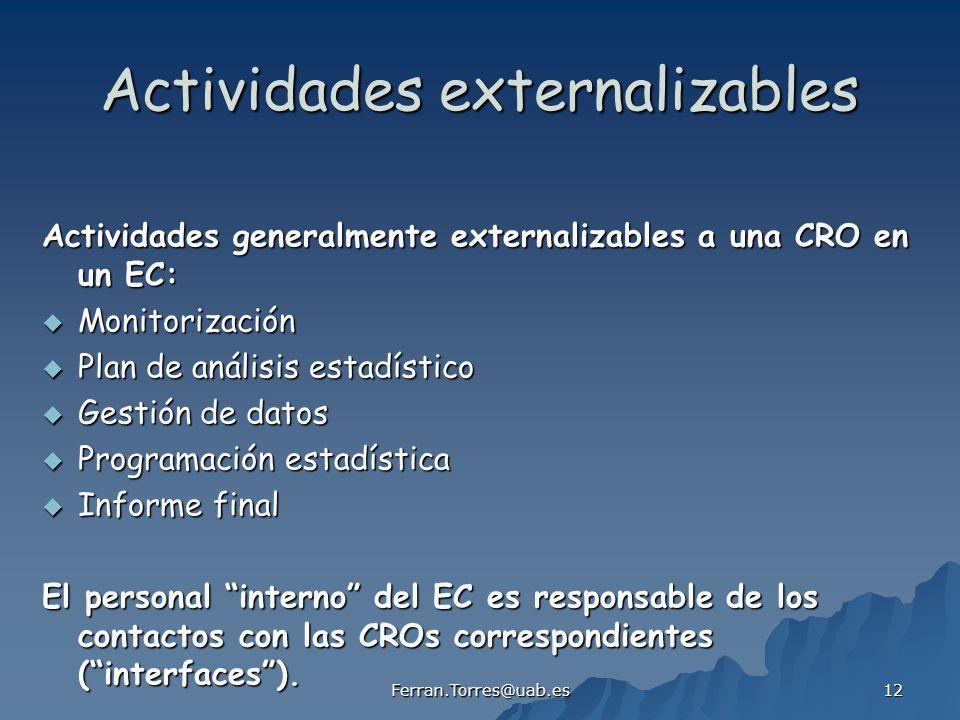 Ferran.Torres@uab.es 12 Actividades externalizables Actividades generalmente externalizables a una CRO en un EC: Monitorización Monitorización Plan de