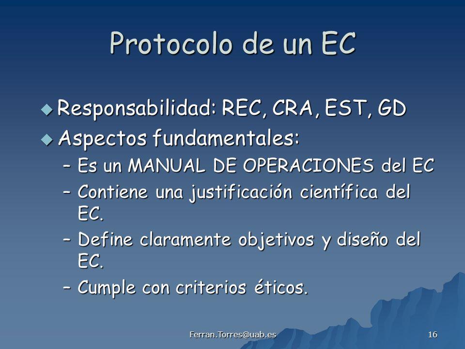 Ferran.Torres@uab.es 16 Protocolo de un EC Responsabilidad: REC, CRA, EST, GD Responsabilidad: REC, CRA, EST, GD Aspectos fundamentales: Aspectos fund