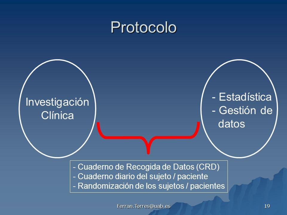 Ferran.Torres@uab.es 19 Protocolo Investigación Clínica - Estadística - Gestión de datos - Cuaderno de Recogida de Datos (CRD) - Cuaderno diario del s
