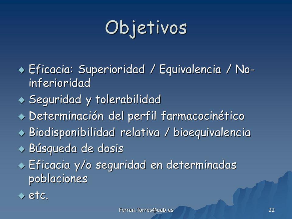 Ferran.Torres@uab.es 22 Objetivos Eficacia: Superioridad / Equivalencia / No- inferioridad Eficacia: Superioridad / Equivalencia / No- inferioridad Se