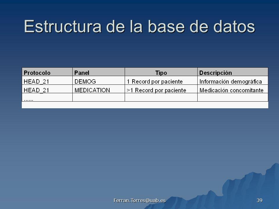 Ferran.Torres@uab.es 39 Estructura de la base de datos