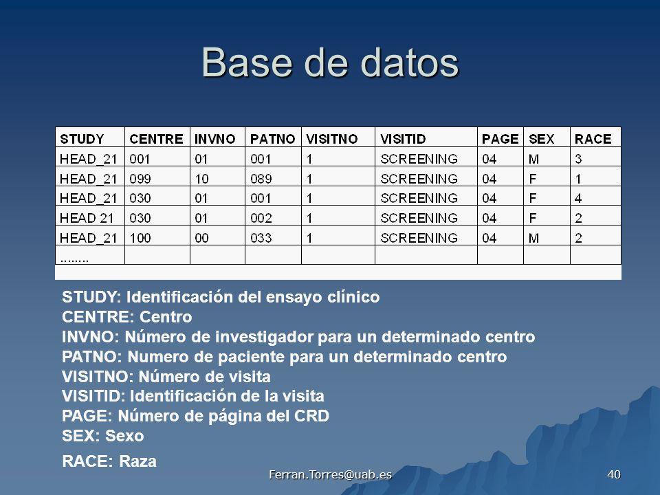 Ferran.Torres@uab.es 40 Base de datos STUDY: Identificación del ensayo clínico CENTRE: Centro INVNO: Número de investigador para un determinado centro