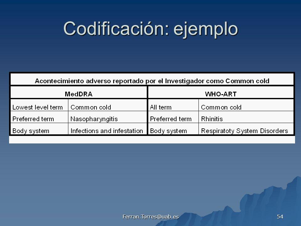 Ferran.Torres@uab.es 54 Codificación: ejemplo
