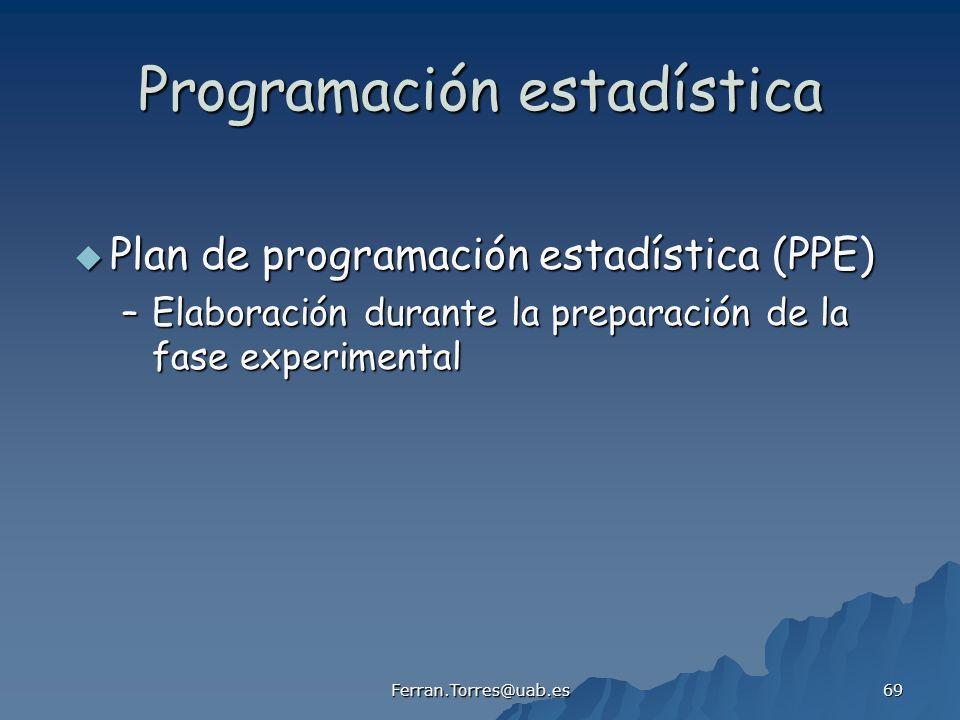 Ferran.Torres@uab.es 69 Programación estadística Plan de programación estadística (PPE) Plan de programación estadística (PPE) –Elaboración durante la