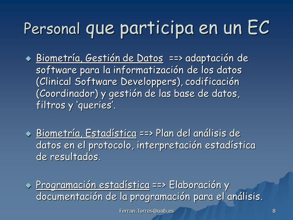 Ferran.Torres@uab.es 19 Protocolo Investigación Clínica - Estadística - Gestión de datos - Cuaderno de Recogida de Datos (CRD) - Cuaderno diario del sujeto / paciente - Randomización de los sujetos / pacientes