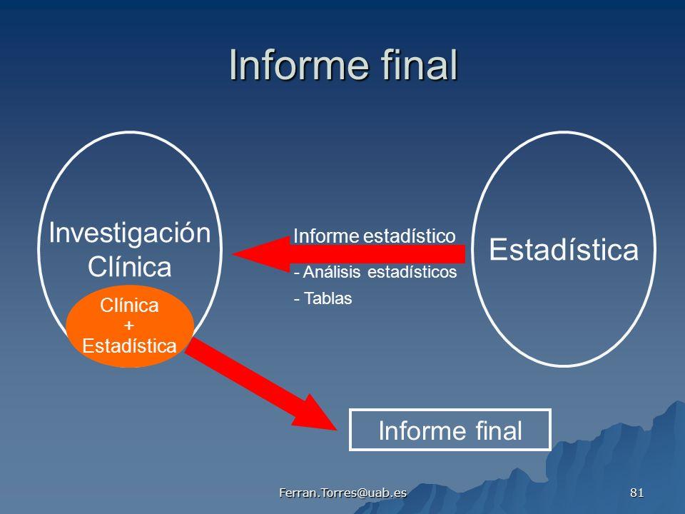 Ferran.Torres@uab.es 81 Informe final Investigación Clínica Estadística Informe estadístico - Análisis estadísticos - Tablas Informe final Clínica + E
