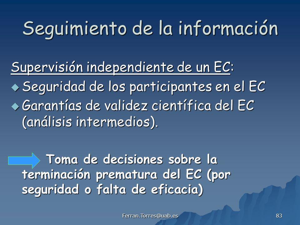 Ferran.Torres@uab.es 83 Seguimiento de la información Supervisión independiente de un EC: Seguridad de los participantes en el EC Seguridad de los par