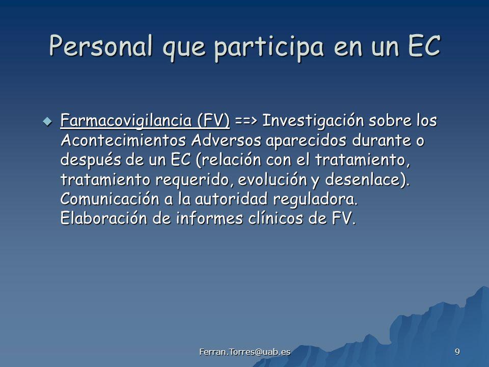 Ferran.Torres@uab.es 9 Personal que participa en un EC Farmacovigilancia (FV) ==> Investigación sobre los Acontecimientos Adversos aparecidos durante