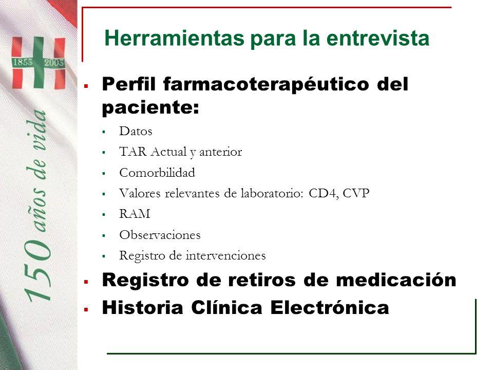 Herramientas para la entrevista Perfil farmacoterapéutico del paciente: Datos TAR Actual y anterior Comorbilidad Valores relevantes de laboratorio: CD