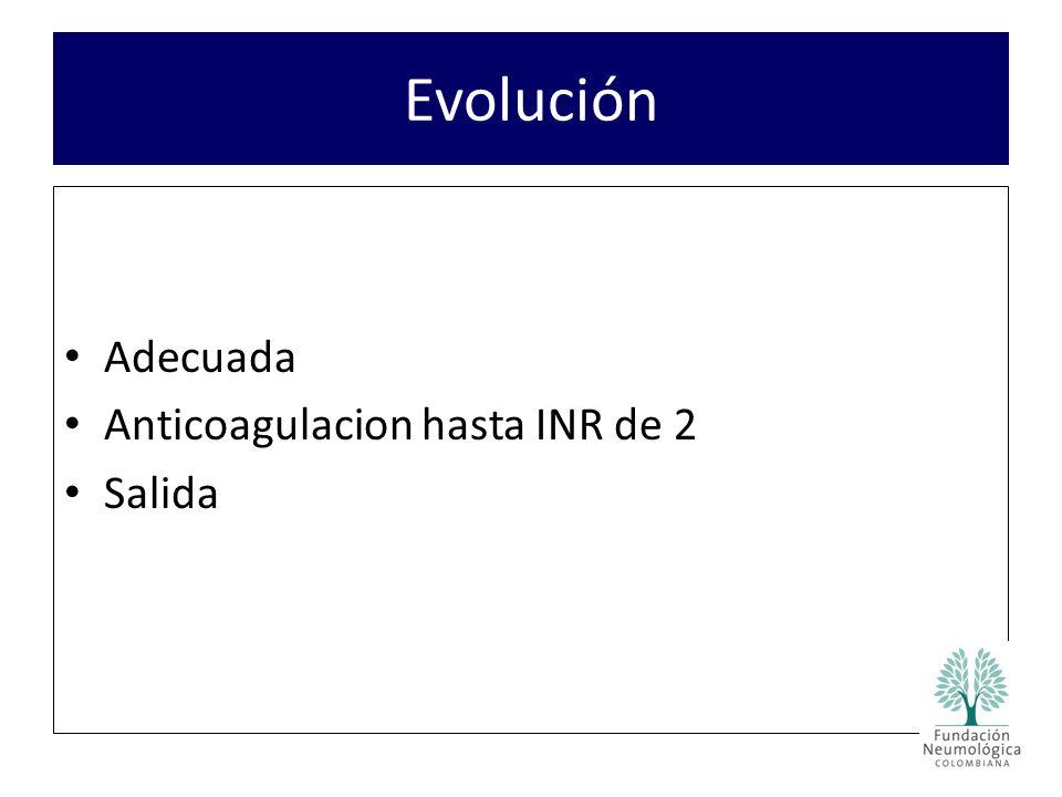 Adecuada Anticoagulacion hasta INR de 2 Salida Evolución