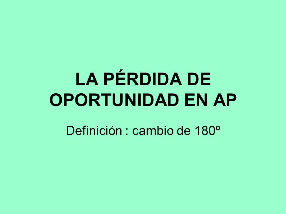 LA PÉRDIDA DE OPORTUNIDAD EN AP Definición : cambio de 180º
