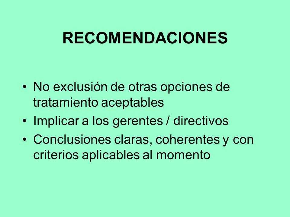 RECOMENDACIONES No exclusión de otras opciones de tratamiento aceptables Implicar a los gerentes / directivos Conclusiones claras, coherentes y con criterios aplicables al momento