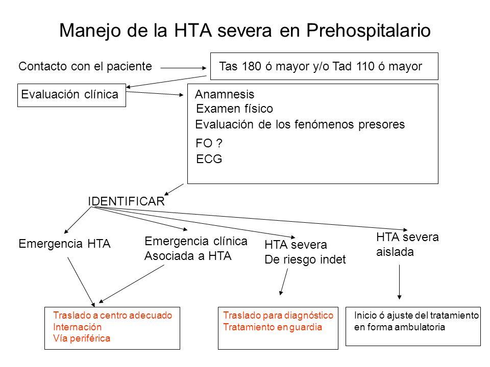 Manejo de la HTA severa en Prehospitalario Contacto con el pacienteTas 180 ó mayor y/o Tad 110 ó mayor Evaluación clínicaAnamnesis Examen físico Evaluación de los fenómenos presores FO .
