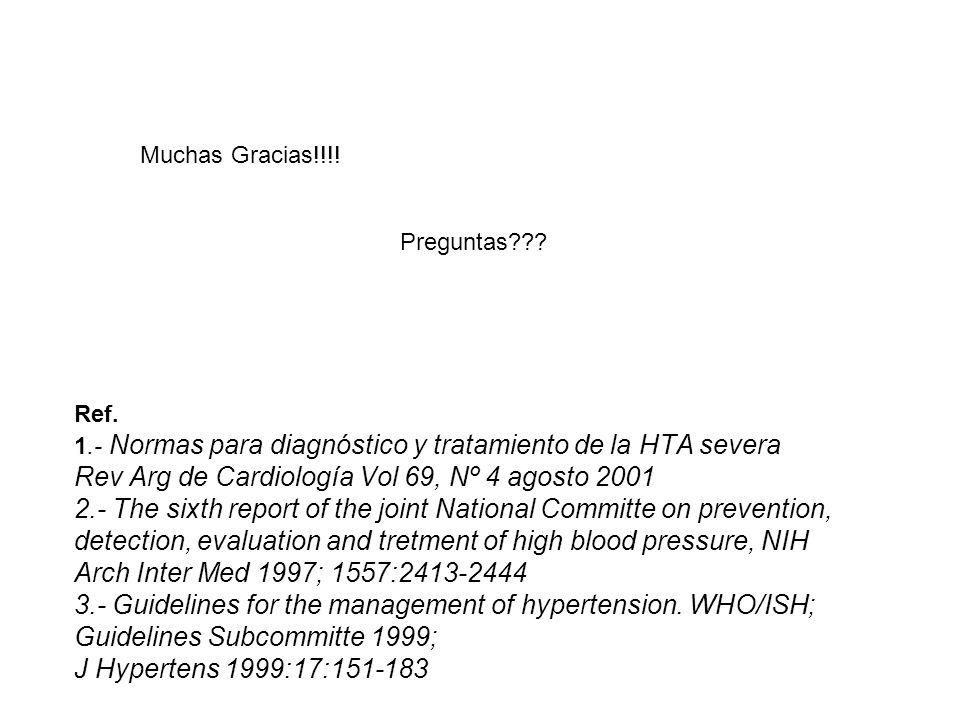 Ref. 1.- Normas para diagnóstico y tratamiento de la HTA severa Rev Arg de Cardiología Vol 69, Nº 4 agosto 2001 2.- The sixth report of the joint Nati