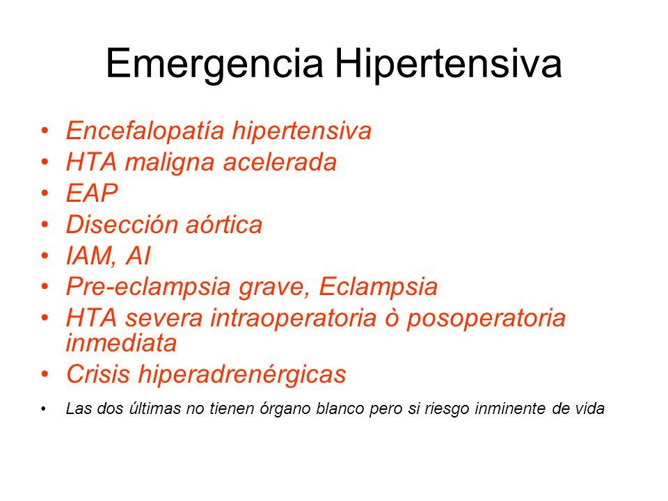 Emergencia Hipertensiva Encefalopatía hipertensiva HTA maligna acelerada EAP Disección aórtica IAM, AI Pre-eclampsia grave, Eclampsia HTA severa intraoperatoria ò posoperatoria inmediata Crisis hiperadrenérgicas Las dos últimas no tienen órgano blanco pero si riesgo inminente de vida