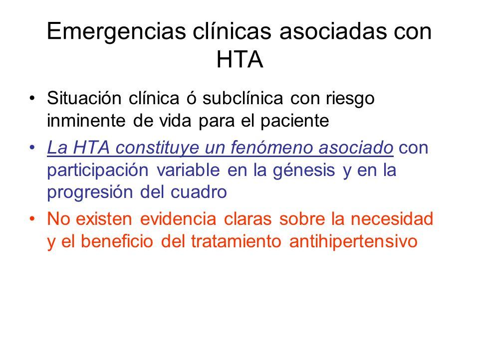 Emergencias clínicas asociadas con HTA Situación clínica ó subclínica con riesgo inminente de vida para el paciente La HTA constituye un fenómeno asociado con participación variable en la génesis y en la progresión del cuadro No existen evidencia claras sobre la necesidad y el beneficio del tratamiento antihipertensivo