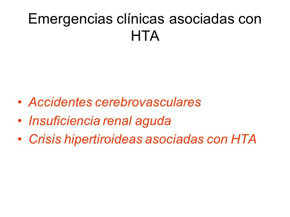 Emergencias clínicas asociadas con HTA Accidentes cerebrovasculares Insuficiencia renal aguda Crisis hipertiroideas asociadas con HTA