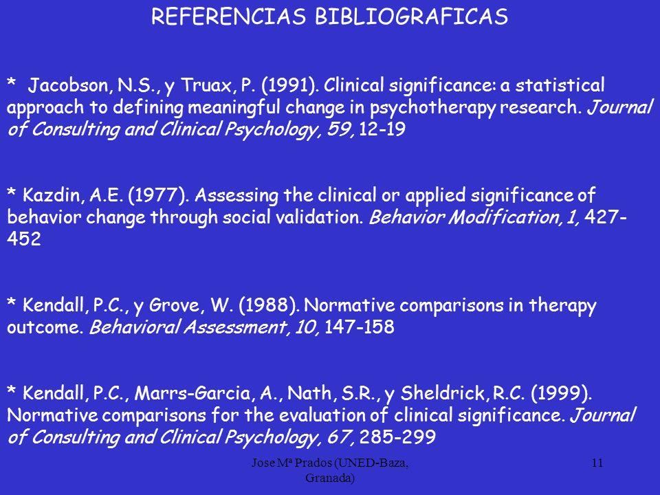 Jose Mª Prados (UNED-Baza, Granada) 11 REFERENCIAS BIBLIOGRAFICAS * Jacobson, N.S., y Truax, P.