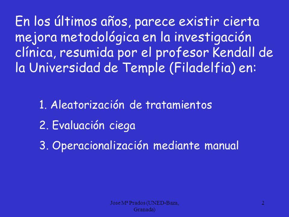 Jose Mª Prados (UNED-Baza, Granada) 3 A estas mejoras debemos añadir un especial interés por determinar, no sólo la significación estadística del tratamiento, sino también la SIGNIFICACIÓN CLINICA esto es, que el cambio sea clínicamente significativo además de estadísticamente significativo
