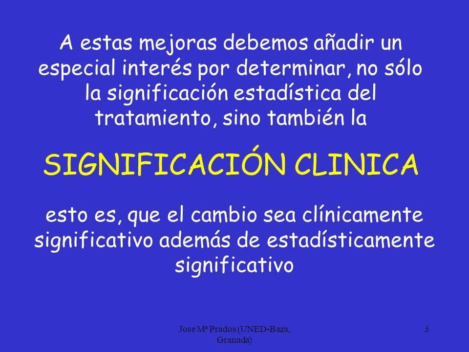Jose Mª Prados (UNED-Baza, Granada) 4 Aunque esta preocupación comenzó en los años 70 (Kazdin, 1977), recientemente se han propuesto algunos procedimientos concretos para establecer si el cambio tiene o no significación clínica, y que no se basan en criterios del DSM, sino en información normativa.