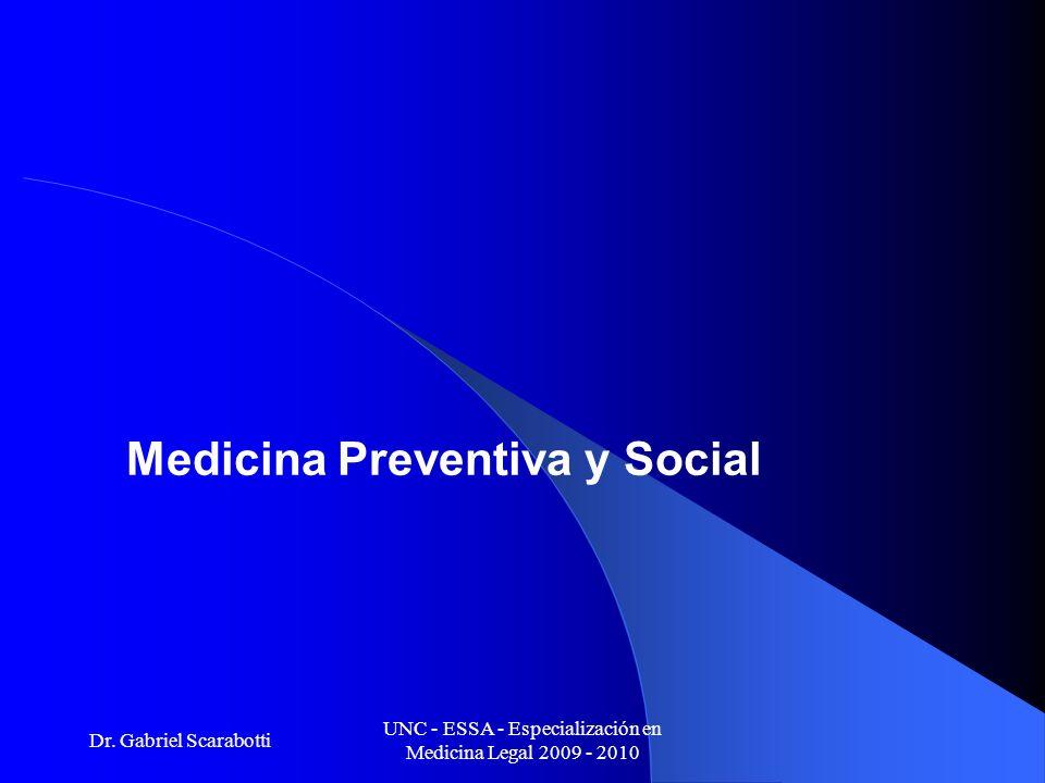 Dr. Gabriel Scarabotti UNC - ESSA - Especialización en Medicina Legal 2009 - 2010 Medicina Preventiva y Social