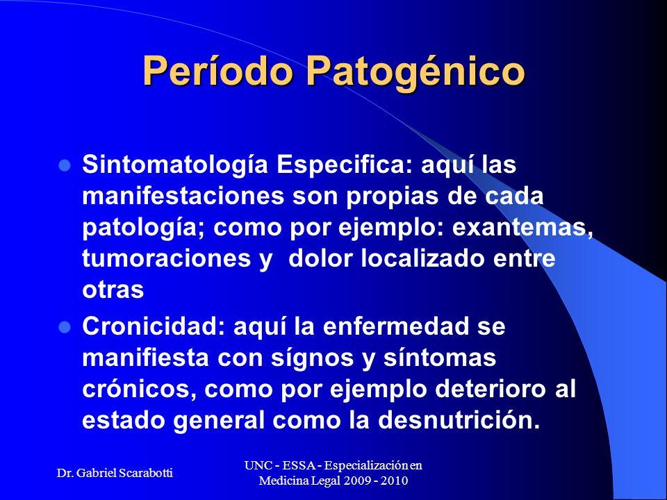 Dr. Gabriel Scarabotti UNC - ESSA - Especialización en Medicina Legal 2009 - 2010 Período Patogénico Sintomatología Especifica: aquí las manifestacion