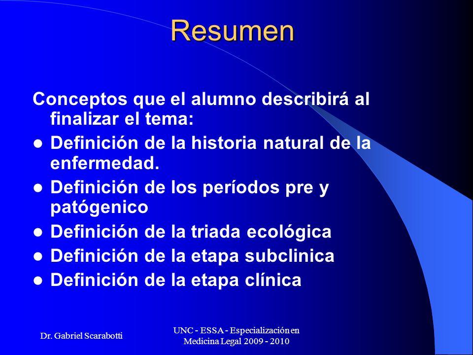 Dr. Gabriel Scarabotti UNC - ESSA - Especialización en Medicina Legal 2009 - 2010Resumen Conceptos que el alumno describirá al finalizar el tema: Defi