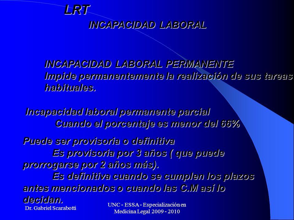Dr. Gabriel Scarabotti UNC - ESSA - Especialización en Medicina Legal 2009 - 2010LRT INCAPACIDAD LABORAL INCAPACIDAD LABORAL PERMANENTE Impide permane