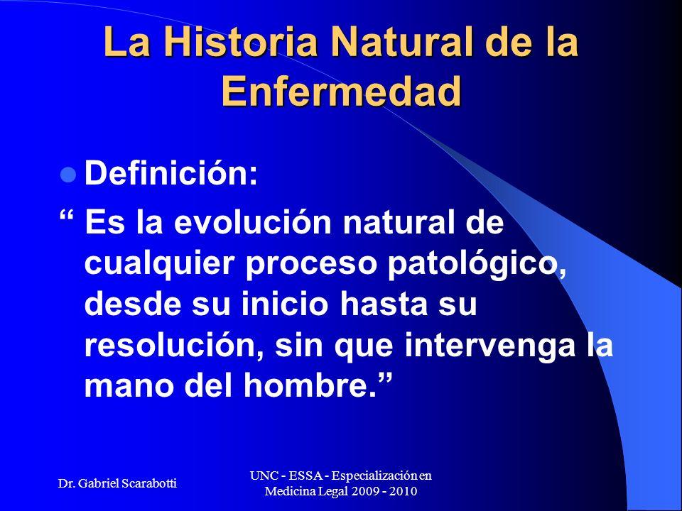Dr. Gabriel Scarabotti UNC - ESSA - Especialización en Medicina Legal 2009 - 2010 La Historia Natural de la Enfermedad Definición: Es la evolución nat