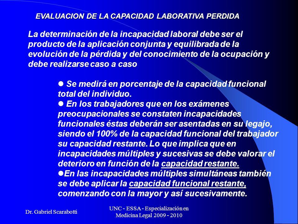 Dr. Gabriel Scarabotti UNC - ESSA - Especialización en Medicina Legal 2009 - 2010 EVALUACION DE LA CAPACIDAD LABORATIVA PERDIDA La determinación de la