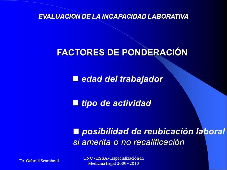 Dr. Gabriel Scarabotti UNC - ESSA - Especialización en Medicina Legal 2009 - 2010 EVALUACION DE LA INCAPACIDAD LABORATIVA FACTORES DE PONDERACIÓN edad