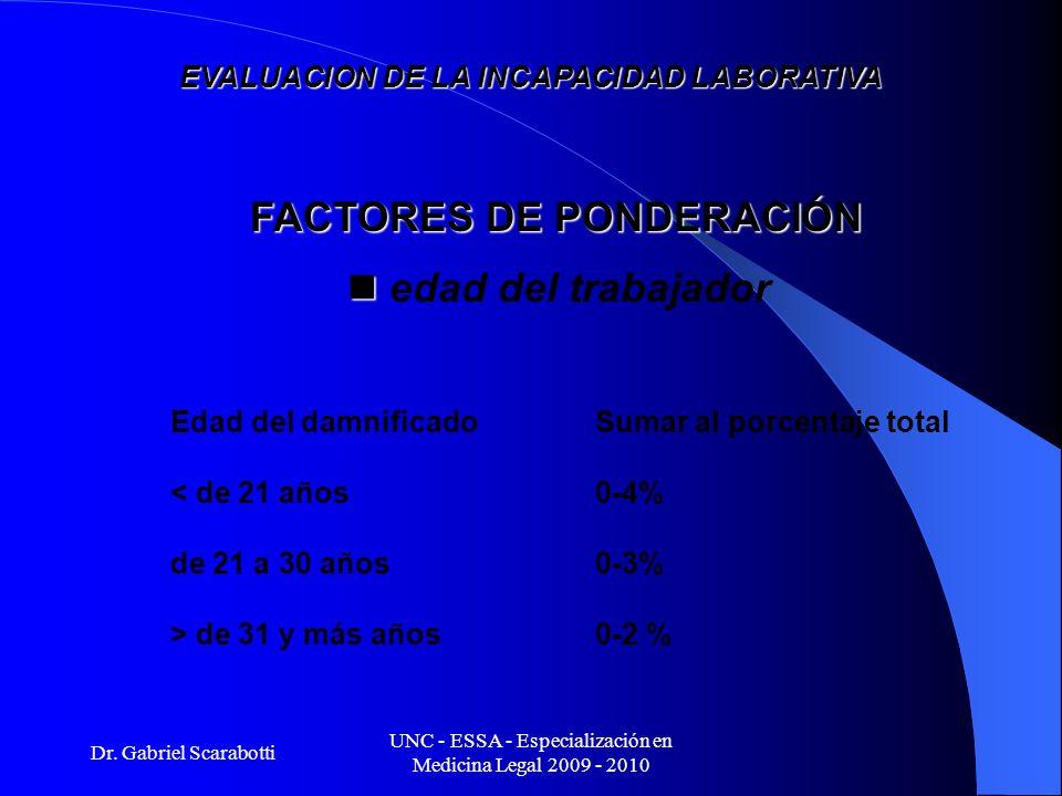 Dr. Gabriel Scarabotti UNC - ESSA - Especialización en Medicina Legal 2009 - 2010 EVALUACION DE LA INCAPACIDAD LABORATIVA Edad del damnificadoSumar al