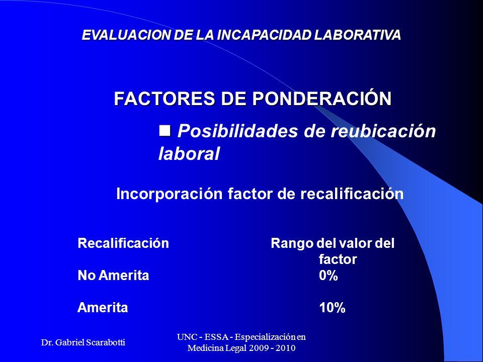 Dr. Gabriel Scarabotti UNC - ESSA - Especialización en Medicina Legal 2009 - 2010 EVALUACION DE LA INCAPACIDAD LABORATIVA Incorporación factor de reca
