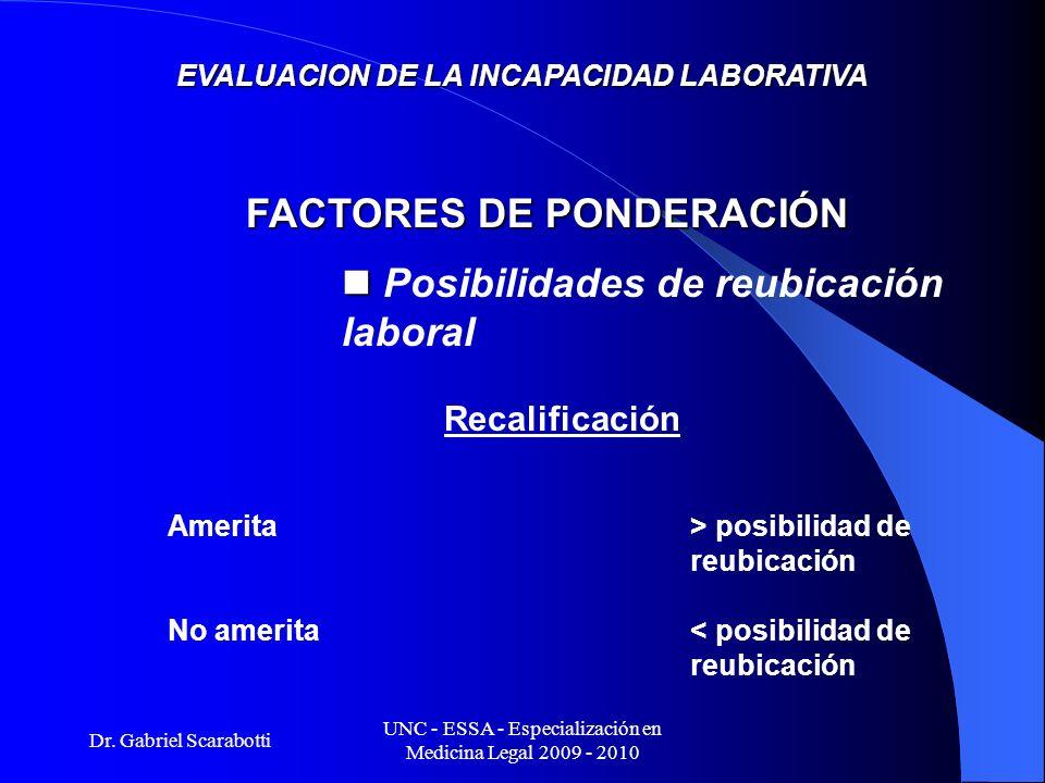 Dr. Gabriel Scarabotti UNC - ESSA - Especialización en Medicina Legal 2009 - 2010 EVALUACION DE LA INCAPACIDAD LABORATIVA Recalificación Amerita> posi