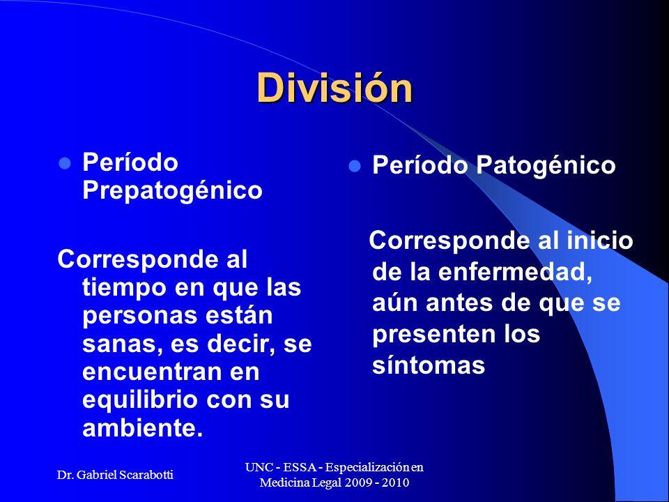 Dr. Gabriel Scarabotti UNC - ESSA - Especialización en Medicina Legal 2009 - 2010 División Período Prepatogénico Corresponde al tiempo en que las pers