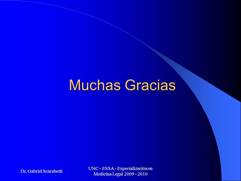 Dr. Gabriel Scarabotti UNC - ESSA - Especialización en Medicina Legal 2009 - 2010 Muchas Gracias