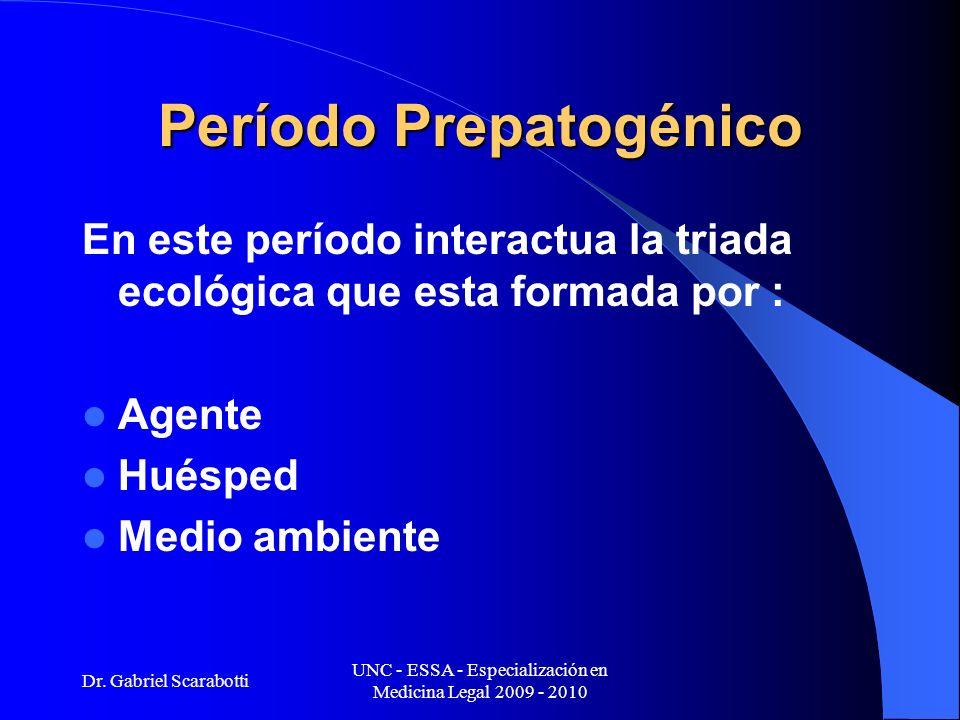 Dr. Gabriel Scarabotti UNC - ESSA - Especialización en Medicina Legal 2009 - 2010 Período Prepatogénico En este período interactua la triada ecológica