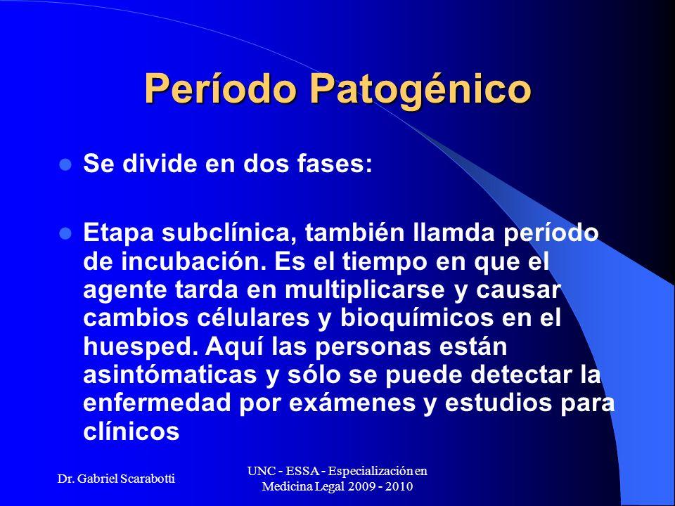 Dr. Gabriel Scarabotti UNC - ESSA - Especialización en Medicina Legal 2009 - 2010 Período Patogénico Se divide en dos fases: Etapa subclínica, también