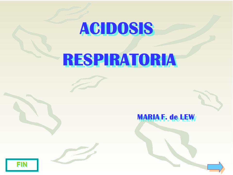 ACIDOSIS RESPIRATORIA ACIDOSIS RESPIRATORIA MARIA F. de LEW MARIA F. de LEW FIN