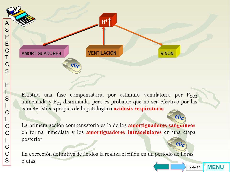 VENTILACIÓN H+H+ Cuando la ventilación disminuye produciendo una excreción reducida del CO 2 y por lo tanto retención de ácido carbónico, se genera un