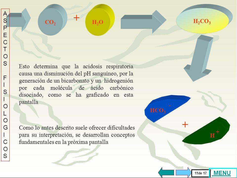 La disminución de la ventilación alveolar (VA) conduce......................... a un aumento de la P CO2 o del ácido carbónico (H 2 CO 3 )............