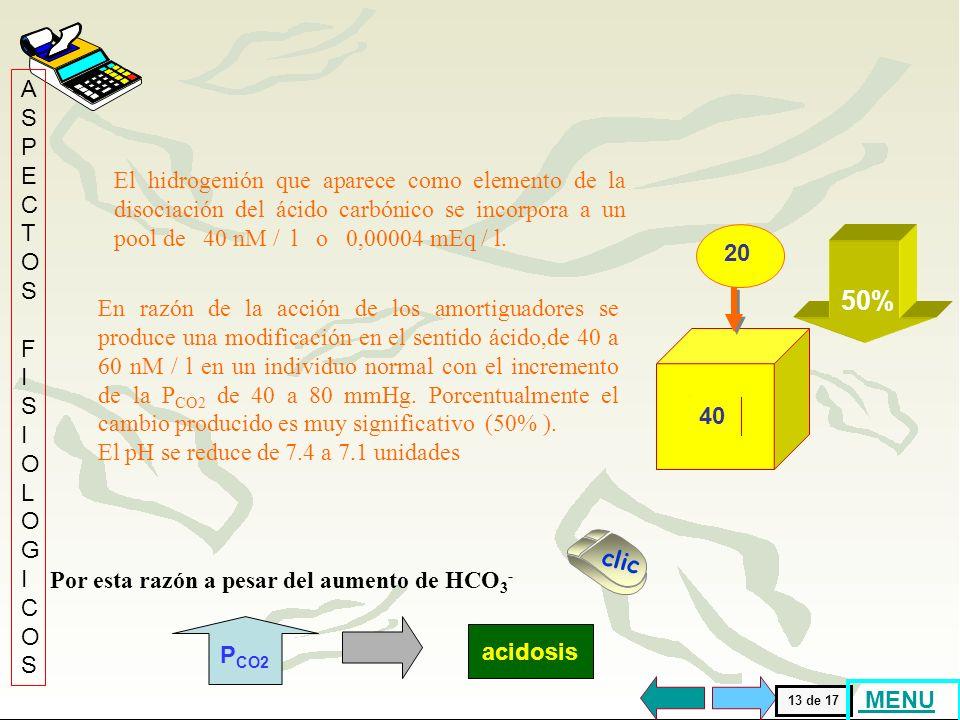 24 El HCO 3 - producto del aumento de la P CO2 y de la disociación del H 2 CO 3 se incorpora a un pool de 24 mEq/l. En razón de la acción de los amort