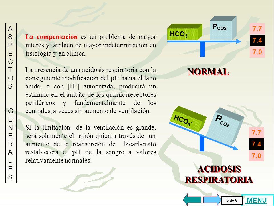 [H + ] (nM/l) 1008015605040302520 BICARBONATO (mEq/l) 32 45 35 24 20 8 16 12 4 28 40 pH (Unidades) 7,007,107,807,207,307,407,507,607,70 0 PCO 2 ACIDOSIS RESPIRATORIA La parte del gráfico ubicada a la izquierda de la isobara de P CO2 de 40 mmHg, está formada por puntos que tienen P CO2 aumentada ( ACIDOSIS RESPIRATORIA ).