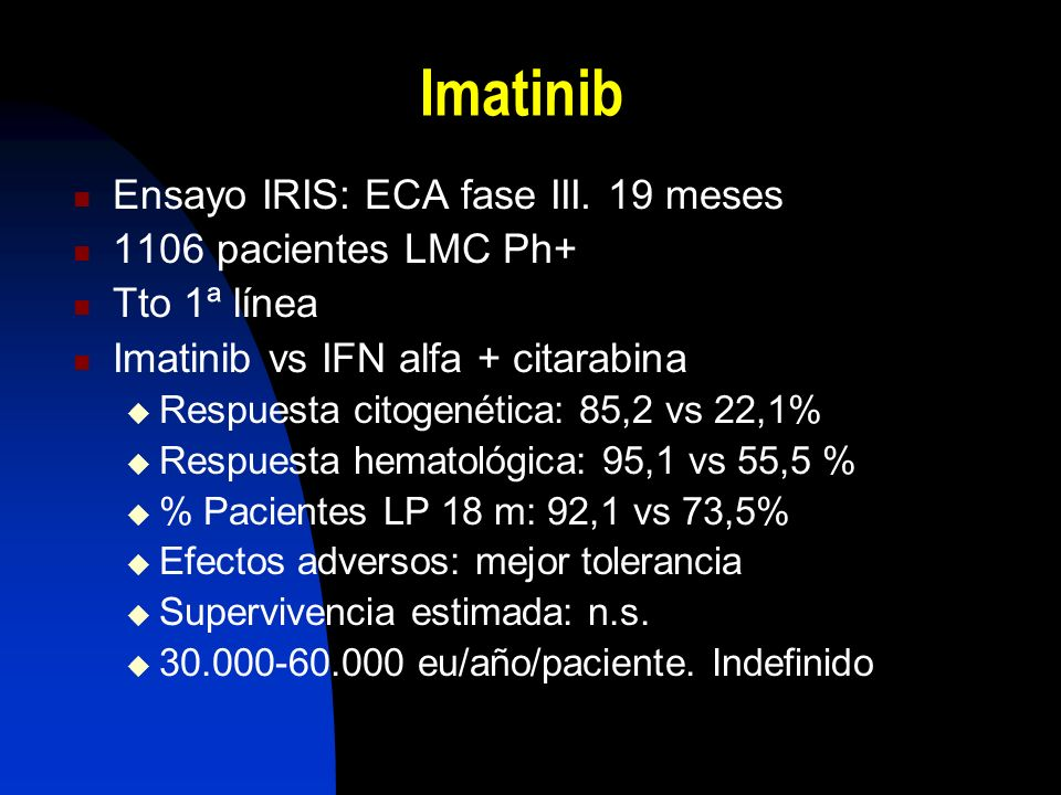 Imatinib Ensayo IRIS: ECA fase III.