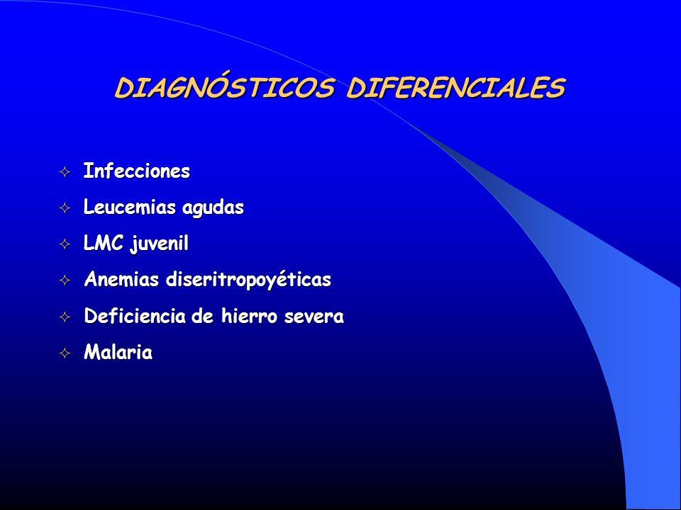 DIAGNÓSTICOS DIFERENCIALES Infecciones Infecciones Leucemias agudas Leucemias agudas LMC juvenil LMC juvenil Anemias diseritropoyéticas Anemias diseri