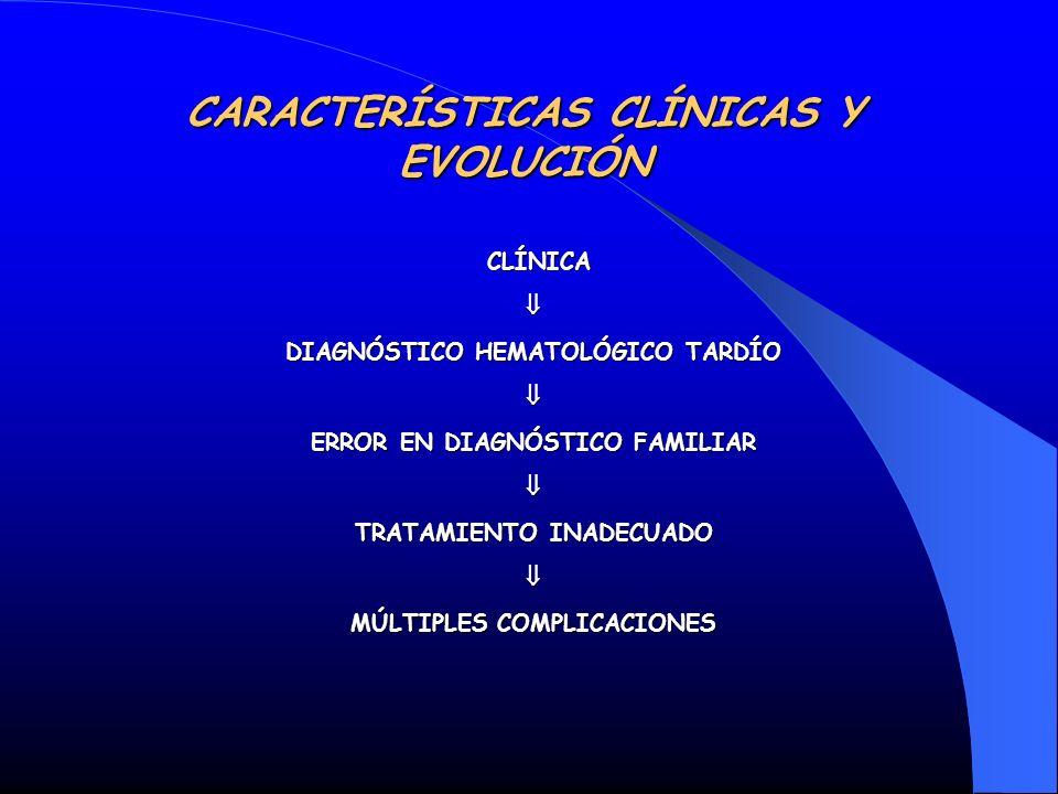 CARACTERÍSTICAS CLÍNICAS Y EVOLUCIÓN CLÍNICA CLÍNICA DIAGNÓSTICO HEMATOLÓGICO TARDÍO ERROR EN DIAGNÓSTICO FAMILIAR TRATAMIENTO INADECUADO MÚLTIPLES CO