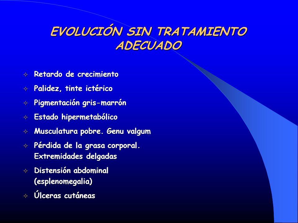 EVOLUCIÓN SIN TRATAMIENTO ADECUADO Retardo de crecimiento Retardo de crecimiento Palidez, tinte ictérico Palidez, tinte ictérico Pigmentación gris-mar